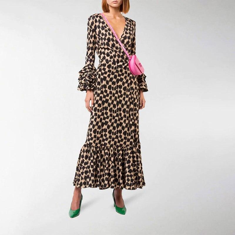 2019 été femmes col en v à manches longues à manches longues robes dames imprimé léopard Maxi Robe Longue Femme Ete