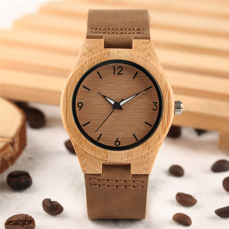 Vintage Bamboo Wood Watch Simple Women Dress Quartz Analog Leather Genuine Hour Clocks Male Female Watches Valentines Day Gifts