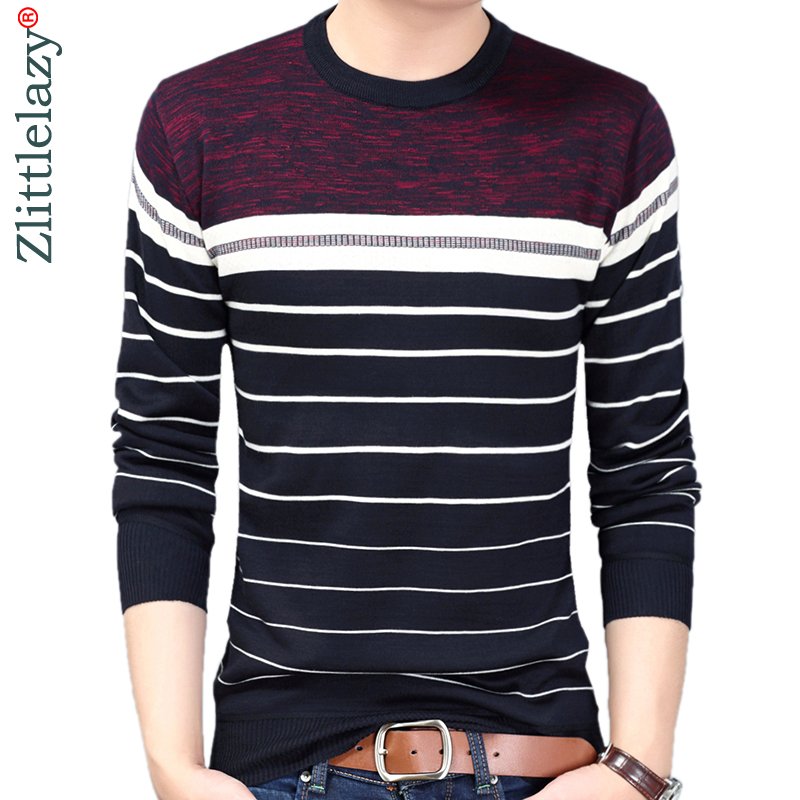 2019 Brand Designer Pullover Striped Men Sweater Dress Thick Winter Warm Jersey Knitted Sweaters Mens Wear Slim Fit Knitwear 130