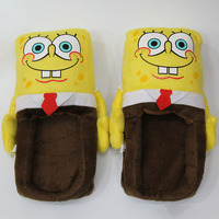 New Anime 27 13 15cm New Year 1 Pair Cartoon Warm Indoor Slippers SpongeBob Plush Fur