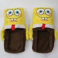 Nuevo Anime 27*13*15 cm Nuevo Año 1 par de Dibujos Animados Zapatillas de Interior Calientes SpongeBob Felpa Zapatillas para los Adultos Zapatillas de Casa