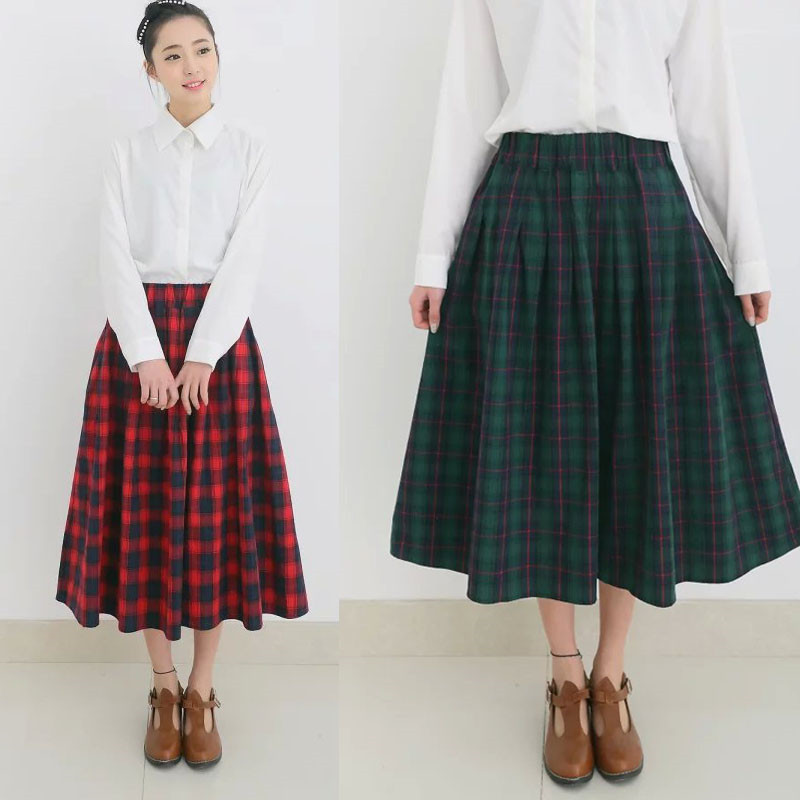 Hot England Style Red High Waist Maxi Long Warm Wool Blends Full Size Cute A-Line Pleated Autumn Women's Skirt 2015 Fashion