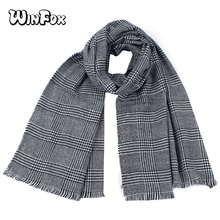 Winfox 2018 Fashion Winter Houndstooth Long Fringed Shawl Scarf For Women Ladies Wool Warm Cashmere Knitted Scarves