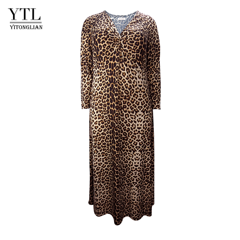 cc9cab7245c Women Winter Long Sleeve Leopard Print Plus Size Dress Vintage Sexy V Neck  Ruched Long Tunic Dress Casual Party Dresses H158 - Western Garments
