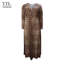 Women Winter Long Sleeve Leopard Print Plus Size Dress Vintage Sexy V Neck Ruched Long Tunic Dress Casual Party Dresses H158