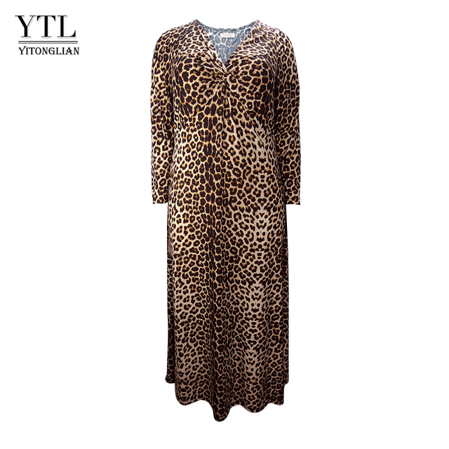 f5f84e22ca3 Women Winter Long Sleeve Leopard Print Plus Size Dress Vintage Sexy V Neck  Ruched Long Tunic Dress Casual Party Dresses H158