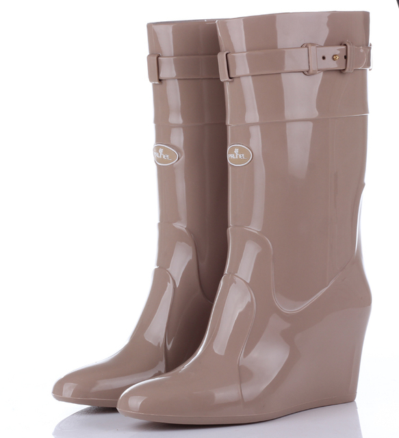 13df4dc2025f Tall stylish high heeled rain boots increased