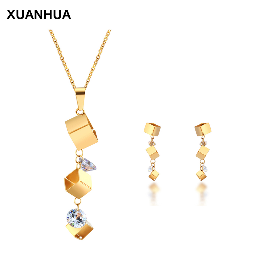 XUANHUA Europe And The United States  Titanium Steel Stud Earrings Pendant Necklace Women Fashion Jewelry Set Free Delivery