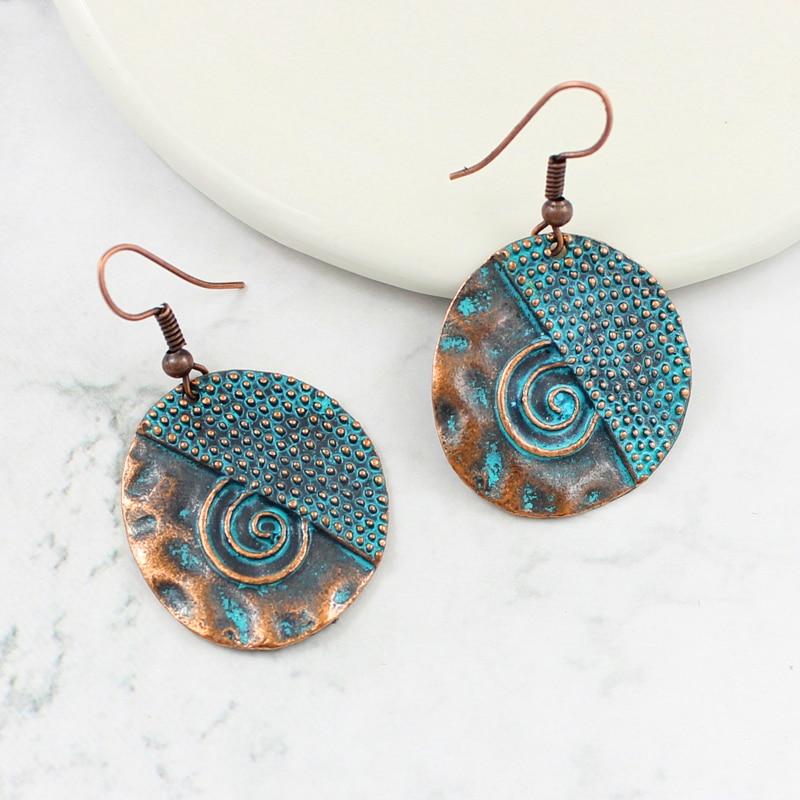 Jewelry & Accessories Bohemian Bronze Round Drop Earrings Simple Sun Decorative Pattern Earrings Retro Ethnic Earrings Beach Holiday Jewelry 100% Guarantee Earrings