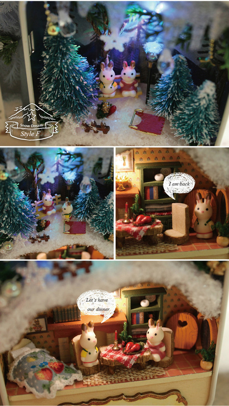 Snow Dream Doll House 3D DIY Miniature Wooden Puzzle Dollhouse Mini Furniture Decoration Toy for Kid Birthday Gift Box Theatre (3)