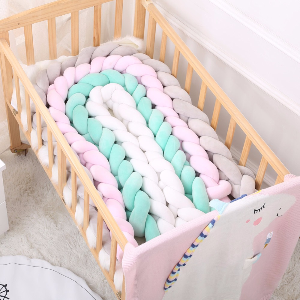 100/200cm Newborn Baby Bed Bumper Pure Color Weaving Knot Bumper For Infant Room Decor Crib Protector Baby Bedding Accessories