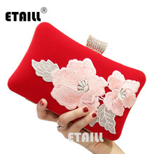 ETAILL Chinese Embroidery Women Evening Bag Appliques Day Clutch Wallet Wedding Purse Party Banquet Bag Red Velvet Shoulder Bag цены