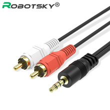 Robotsky 3.5 Male to RCA Male Audio Cable 3.5mm 2rca Aux Cable for Mp3 Phone Computer Sound Speaker Louder 1.5M 3M 5M(China)