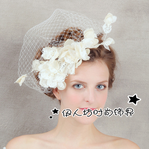 Ivory Bridal Hats Sinamay Lace Flower Fascinator Wedding Guest Hat Hair Acessories