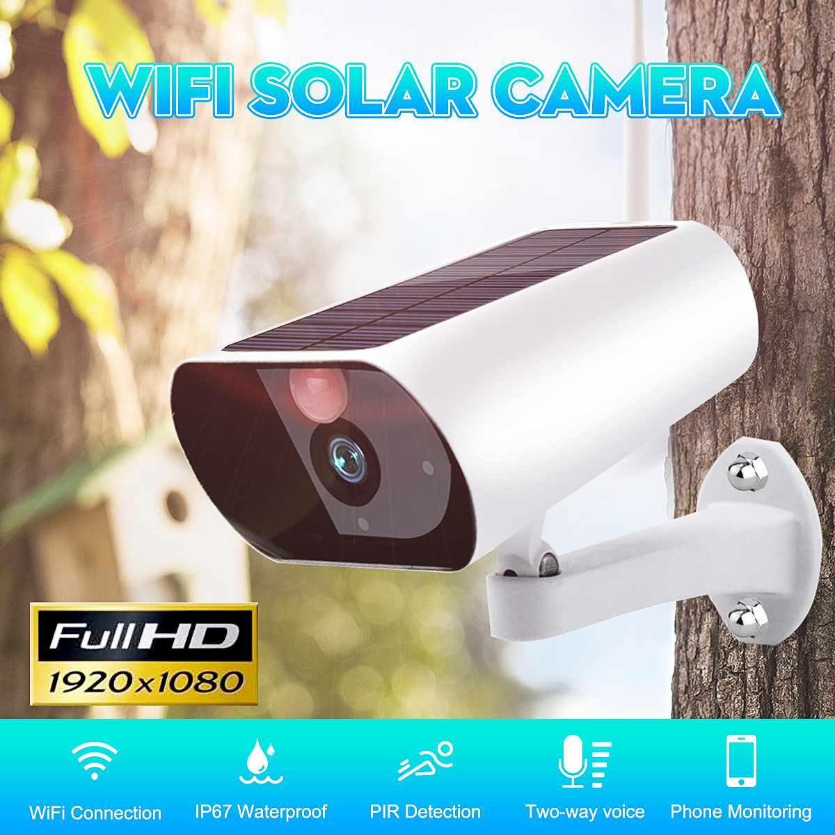 1080P Solar Camera Wifi IP Camera Wireless PIR Two-way Voice Webcam Home Outdoor Waterproof Surveillance Camera Built-in Battery1080P Solar Camera Wifi IP Camera Wireless PIR Two-way Voice Webcam Home Outdoor Waterproof Surveillance Camera Built-in Battery