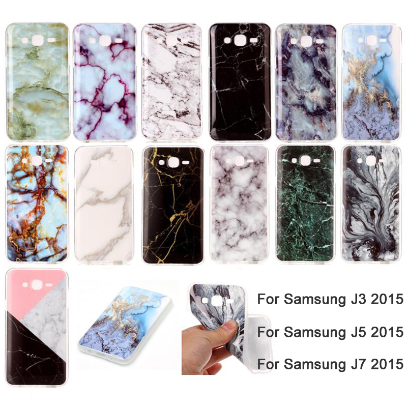 For Samsung Galaxy J3 J5 J7 2015 Case Soft TPU Smooth Mable Marble Griotte Granite Moorstone Jade Pattern J500 J700 Phone Cover