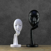 Modern Abstract Statues Sculpture Art Crafts Character Resin Figurine Lady Face Home Decorative
