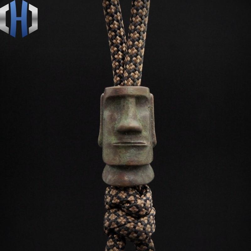 Original Easter Island Stone Portrait EDC Pendant Rope Knife Falling Flashlight Manual DIY Pendant Knife Beads in Knives from Tools