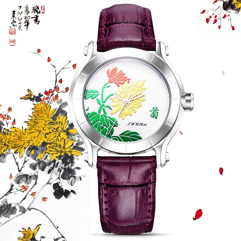Prix pour SINOBI Élégant Chinois Femmes Montres Bracelet En Cuir Top Marque De Luxe Mode Féminine Genève Quartz Horloge 2016 Cadeau Montre