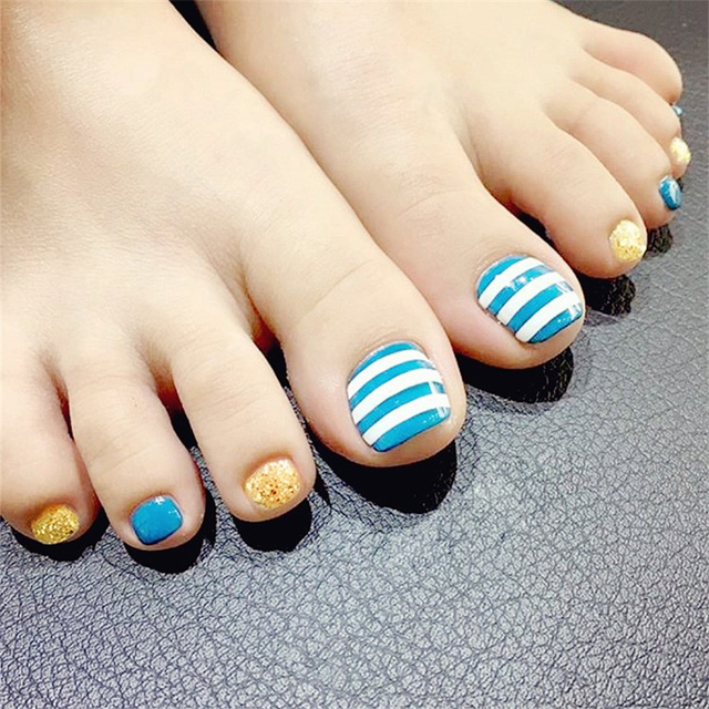New Fashion Striped Toe Nail Sticker Decal Water Transfer Toenail Art Decals Diy Decor