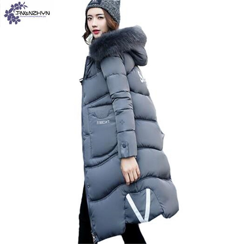 TNLNZHYN NEW Women clothing warm Cotton coat winter  loose Big yards Thickening hooded fur collar Long female Cotton coat QQ100