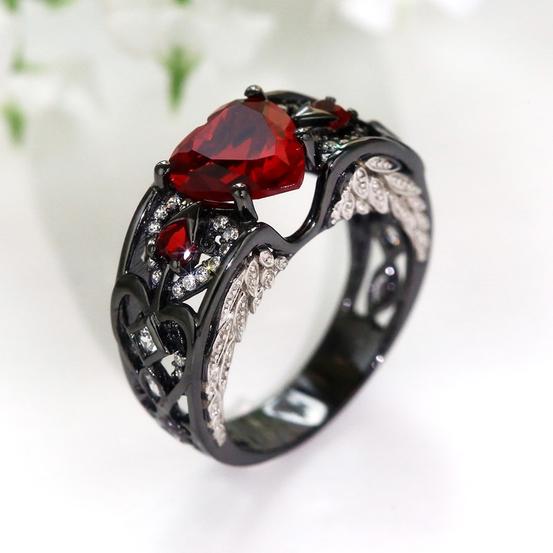 Heart Shaped Red Zircon Black Gold Filled 925 Silver Women