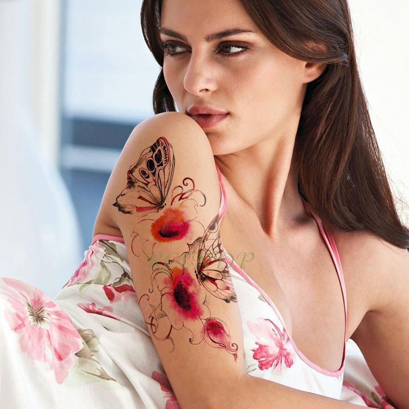 Waterproof Temporary Tattoo Sticker Flower Butterfly Fake Tatto Big Size Flash Tatoo Tatouage Leg Arm For Girl Women Men