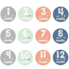 12 Pcs Baby Stickers 12 Months Milestone Memorial Sticker Photography Prop Bodysuit Stickers Boy Girl Applique(China)