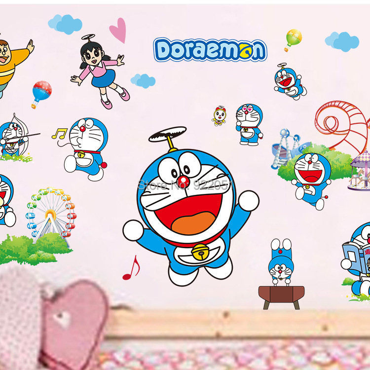 pengiriman gratis ks7004 doraemon decal, removable stiker dinding