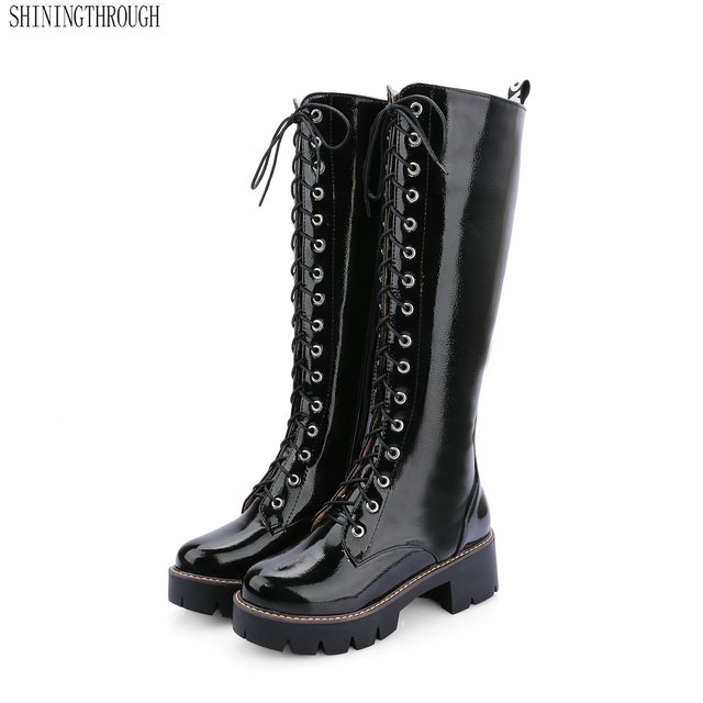select for original top-rated street price Aliexpress.com : Buy New women shoes lace up motorcycle boots woman 5cm  thick heels knee high boots for ladies black white red silver from Reliable  ...