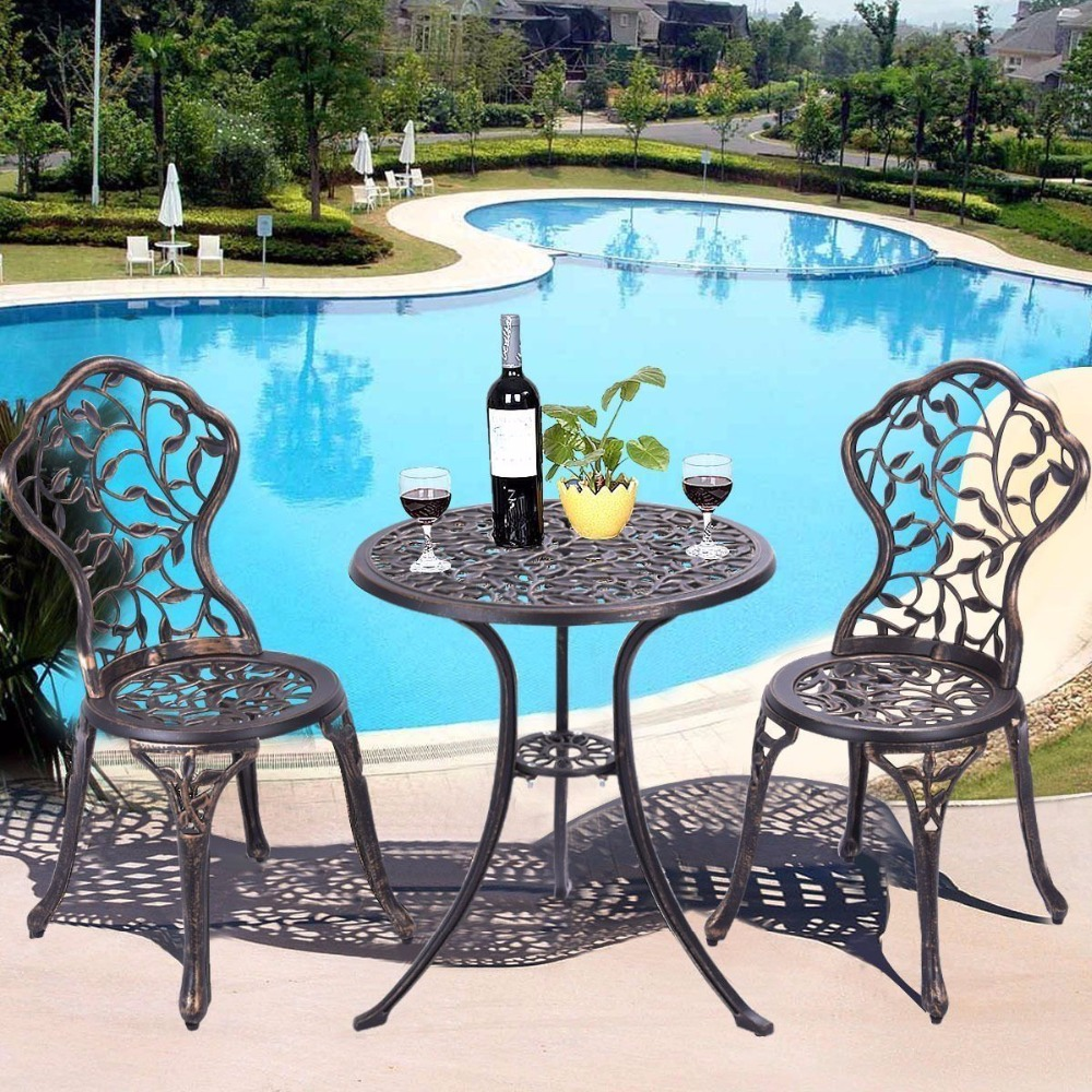 Giantex 3 Piece Bistro Set Cast Leaf Design Antique Outdoor Patio Furniture  Outdoor Furniture Garden Set - Cut Rate Giantex 3 Piece Bistro Set Cast Leaf Design Antique Outdoor
