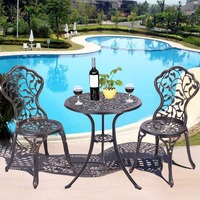 Giantex 3 Piece Bistro Set Cast Leaf Design Antique Outdoor Patio Furniture Outdoor Furniture Garden Set
