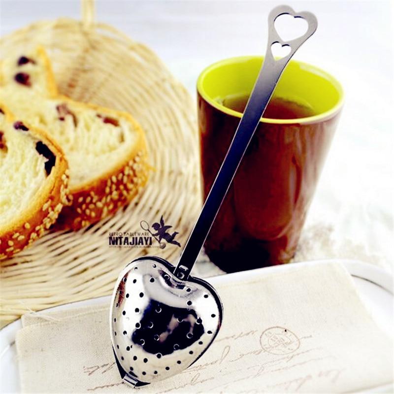 New Heart Shaped Filter Tea Balls Stainless Steel Tea Strainers Oblique Tea Stick Tube Tea Infuser Steeper H-48