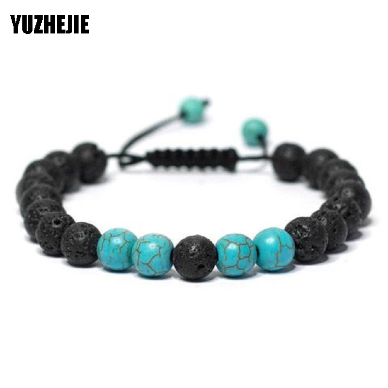 Ambitious Yuzhejie Handmade 8mm Blue White Turquoises Natural Stone Beads Stone Yoga Bracelet Adjustable Rope Chakra Jewelry Mens Womens Beneficial To Essential Medulla