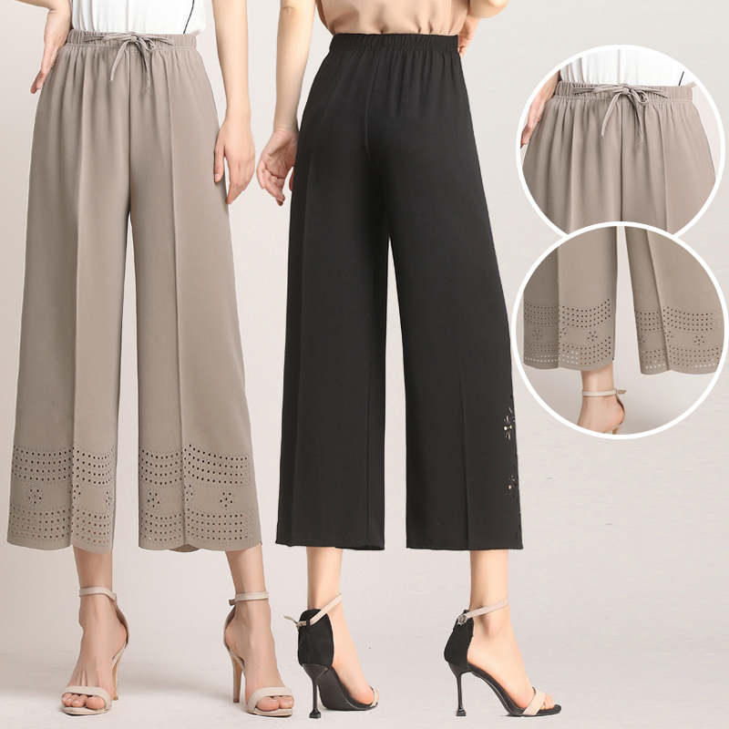 2019 Middle Aged Women's Summer Casual Loose Hollow Out   Wide     Leg     Pants   High Waist Solid Color Trousers Plus Size 5XL