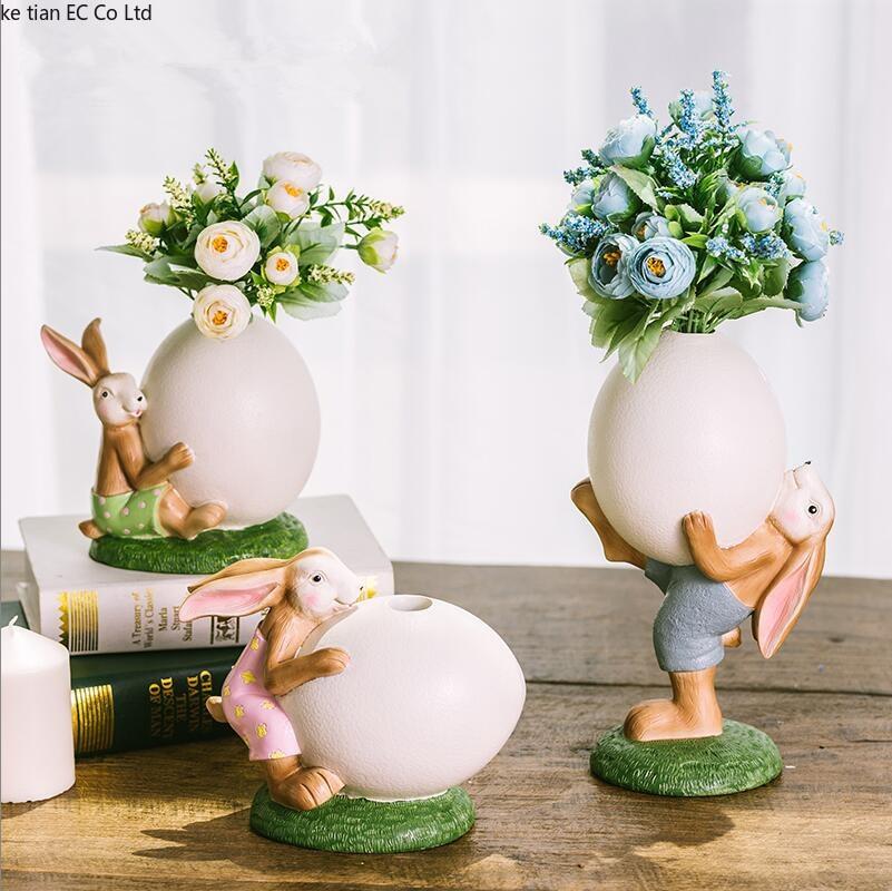 アメリカのウサギの樹脂の装飾家の装飾リビングルームの家のテレビキャビネットの装飾クリエイティブ誕生日プレゼントのテーブル装飾  グループ上の ホーム&ガーデン からの フィギュア & ミニチュア の中 1