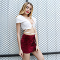 Heyoungirl 2017 new arrival fashion velvet casual sexy mini skirt women red color with lace-up slim streetwear women penpcil