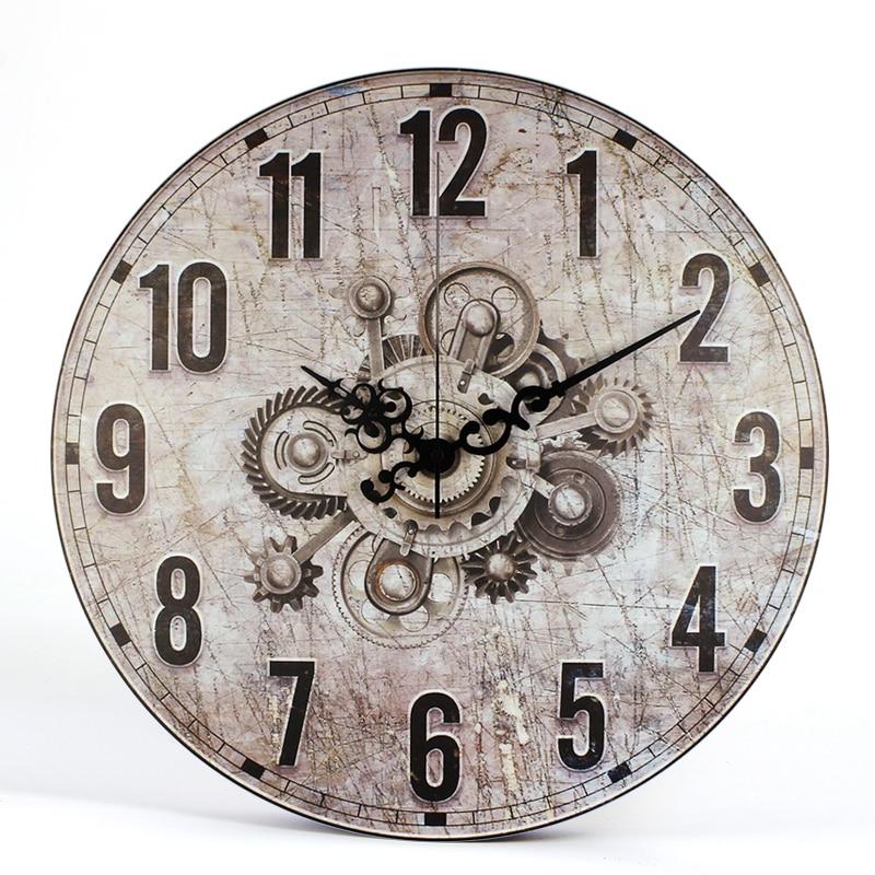Europe Classic Mottled Gear Model Clock Wall Watches Kitchen Residing Room Giant Dwelling Ornamental Retro Watch Wall Clock Decor Reward