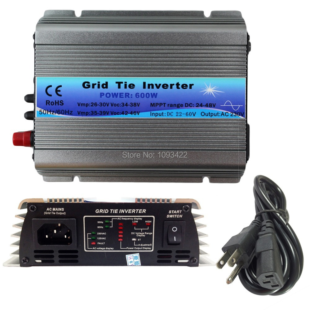 600W Grid Tie Inverter MPPT Function 22 60VDC input 110V 230VAC Micro Grid Tie Pure Sine