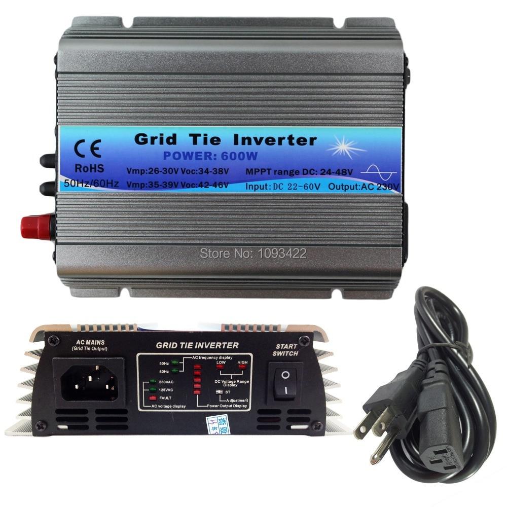 600 W grille cravate onduleur MPPT fonction 22-60VDC entrée 110 V 230VAC Micro grille cravate pur onde sinusoïdale onduleur 22 V 60 V à 110 V 220 V