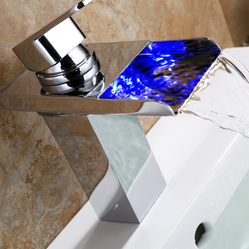 Superfaucet Waterfall LED Bathroom Sink Faucet Centerset Mixer Tap LED Color Changing Single Handle Waterfall Basin Sink