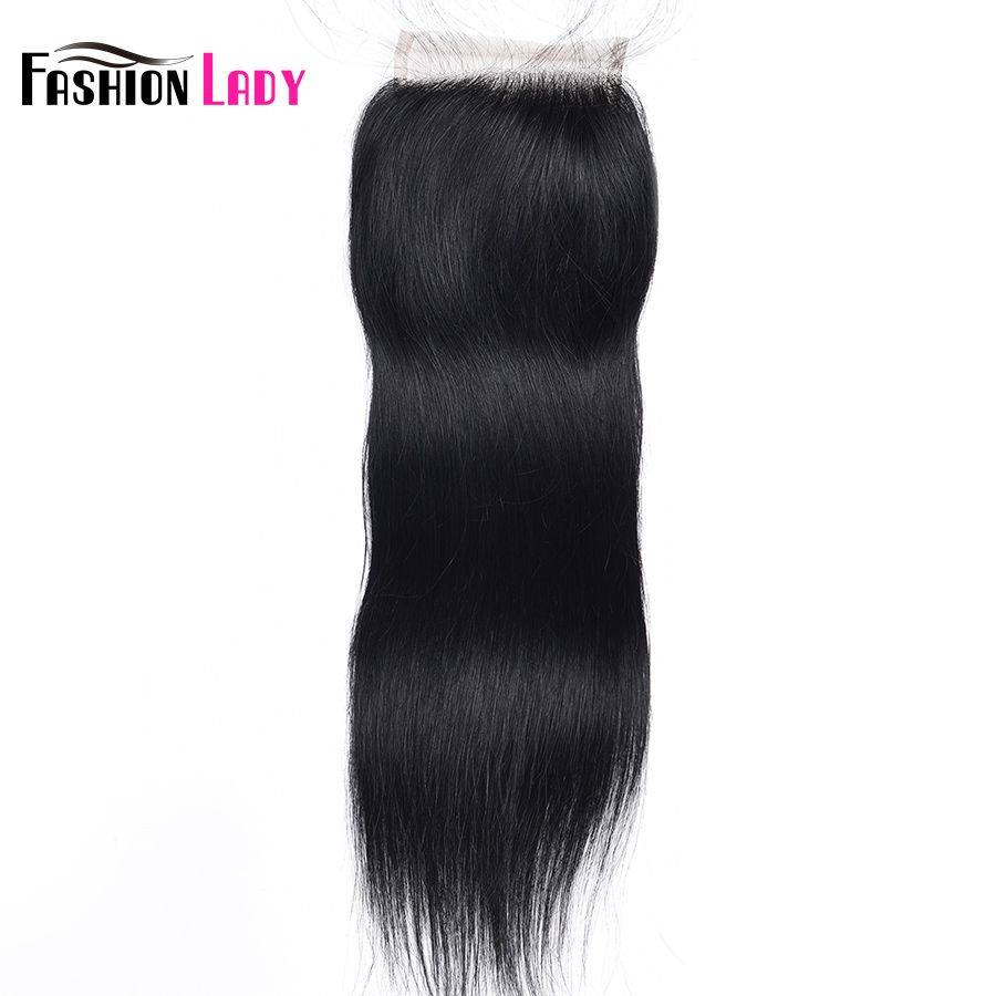 Fashion Lady Pre-Colored Brazilian Straight Hair Jet Black Closure Size 4*4 Inch #1 Human Hair Closure Non-Remy