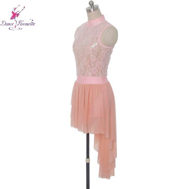 Stunning pink sequin lace bodice ballet Lyrical dance costumes dress women stage ballet dress girl dance costume dress