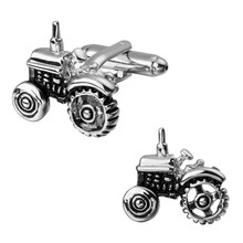 Men's shirts Cufflinks high-quality copper material Funny silver tractor Cufflinks 2 pairs of packaging for sale