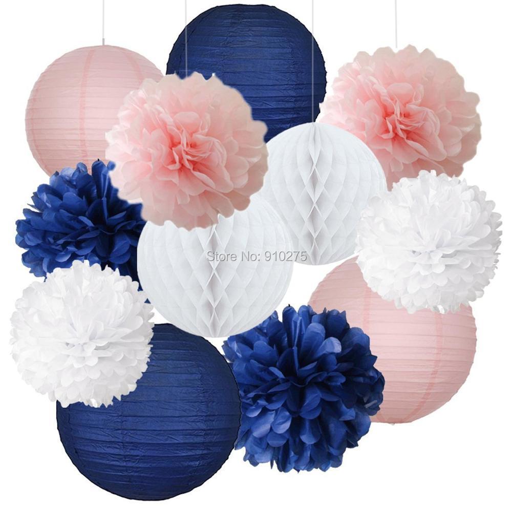12pcs Mixed Navy Blue Pink White Tissue Pom Poms Paper