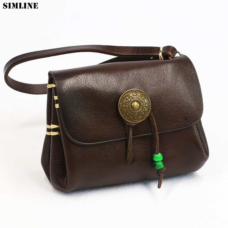 SIMLINE Genuine Leather Wallet Women Cowhide Vintage Casual Handmade Short Wallets Purse Small Clutch Bag Clutches