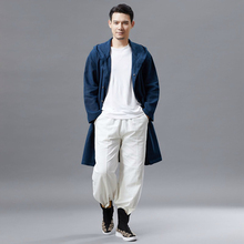 X-long Summer mens Trench Vintage Style Long jacket men Casual Trench