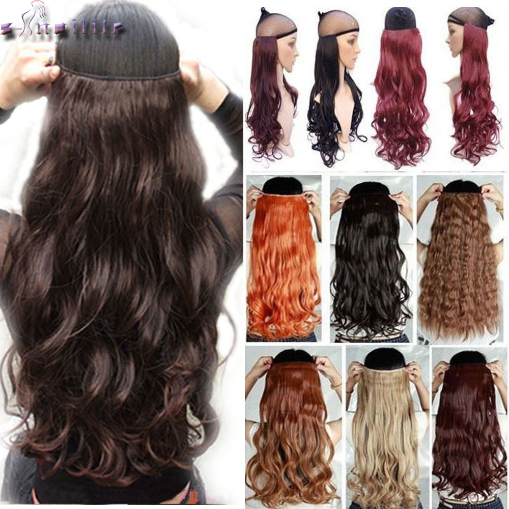 S-noilite 24 Inch Long Curly Wavy Women Clip In One Piece Hair Extensions Black Brown High Tempreture Synthetic Fake Hair Piece