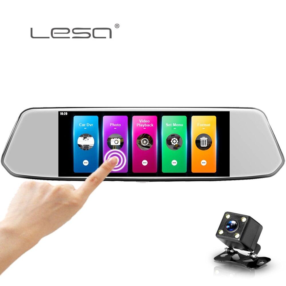 Автомобильный dvr камера Dashcam Full HD 1080p регистратор заднего вида зеркало двойной объектив супер ночного видения авто две камеры
