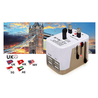 4 USB Port All In One Universal International Plug Adapter With Bag World Travel AC Power